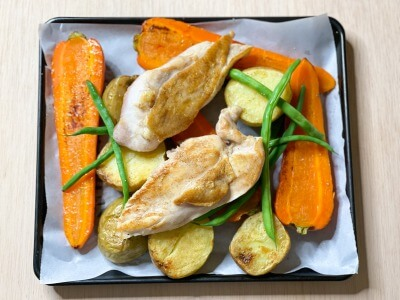 焼き野菜と焼いた鶏むね肉