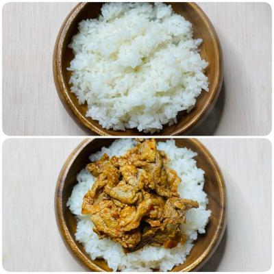 ご飯と豚肉